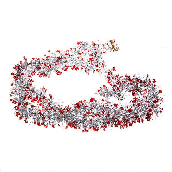 Мишура новогодняя 2 метра 4,5см ″Гранатовый браслет″ красный, серебро купить оптом и в розницу