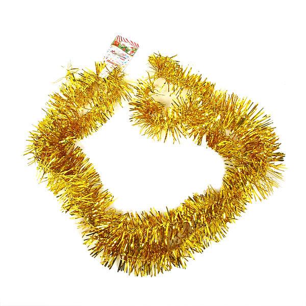 Мишура новогодняя 2 метра 4см ″Праздник″ золото купить оптом и в розницу