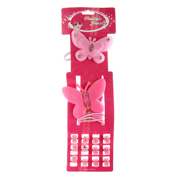 Резинки и крабы в наборе 19шт ″Бабочка″, цвет розовый купить оптом и в розницу