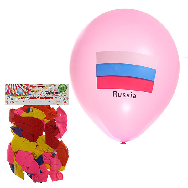 Воздушные шары ″Флаг России″, набор 25 шт., размер 10 дюймов (25 см) купить оптом и в розницу