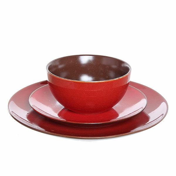 Набор столовой посуды 3 предмета ″Кантри″ (2 тарелки 27;19 см + салатник 13 см) красный купить оптом и в розницу