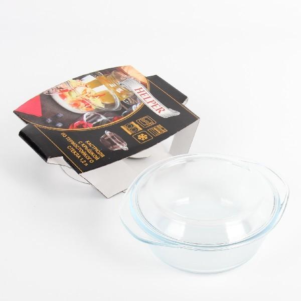 Кастрюля из жаропрочного стекла ″HELPER″ 1,2л купить оптом и в розницу
