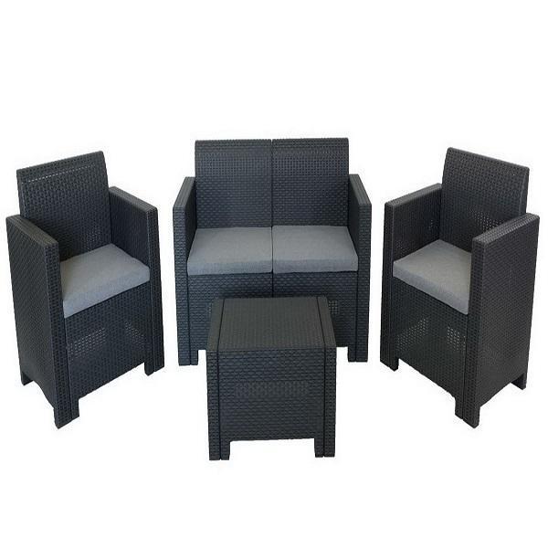 Комплект садовой мебели (2ух местный диван +2 кресла+ столик )Nebraska 2 Set  Цвет венге. купить оптом и в розницу