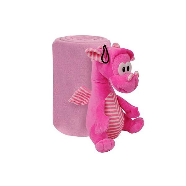 Набор ″Розовый Дракон″: Плед флисовый 100*75см+игрушка мягконабивная 21см купить оптом и в розницу
