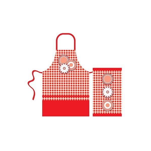 Набор кухонного текстиля 2 предмета ″Red kitchen″ (полотенце 37*62 см, фартук 85*60 см) купить оптом и в розницу