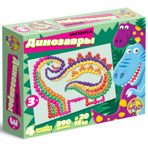 Мозаика Динозавры 390 фишек,6цв. 02011 купить оптом и в розницу