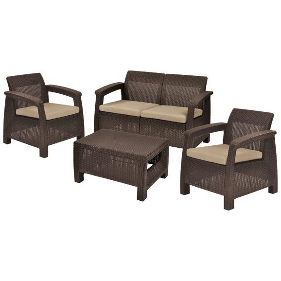 Комплект садовой мебели Corfu setротанг)2 стула,диван,стол коричн./беж.полиэстер с подушками купить оптом и в розницу