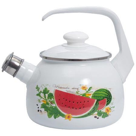 Чайник эмалированный 2,5л со свистком ″Арбузный фреш″ купить оптом и в розницу