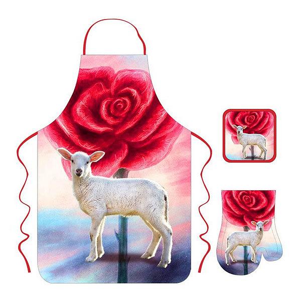 Набор фартук, рукавичка, прихватка кухонный Овечка купить оптом и в розницу