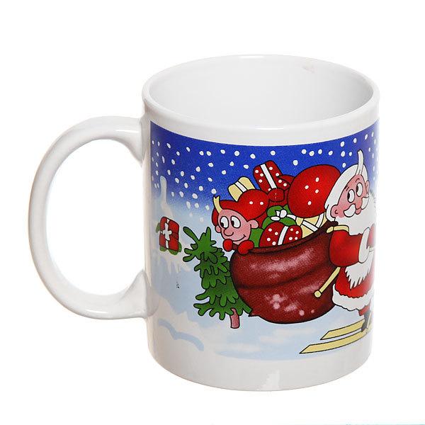 Кружка керамическая 300мл ″Дед Мороз на лыжах″ купить оптом и в розницу