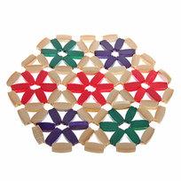 Подставка под горячее бамбуковая ″Цветы″ 17 см цветная купить оптом и в розницу