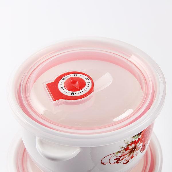 Набор салатников керамических 3шт с крышками ″Пионы″ купить оптом и в розницу
