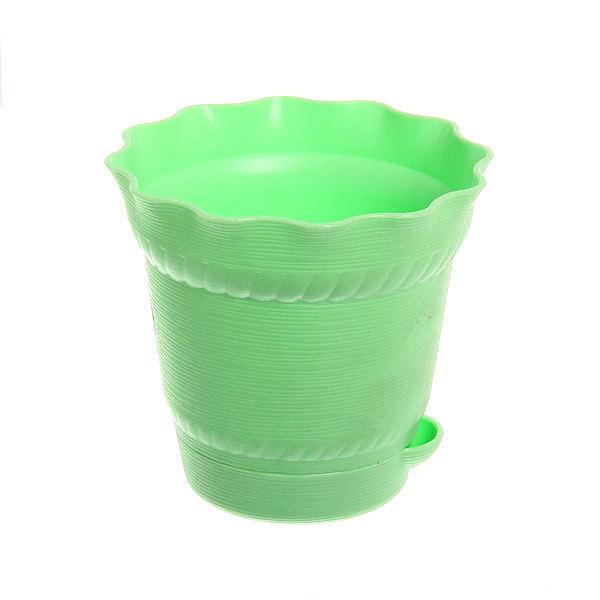 Горшок для цветов 0,5л AQUARELLE с системой прикорневого полива Зеленый 901-1 купить оптом и в розницу