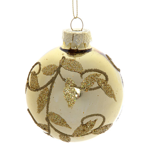 Новогодние шары ″Золотой листок″ 7см (набор 6шт.) купить оптом и в розницу
