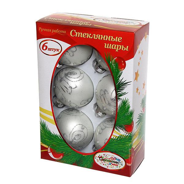 Новогодние шары ″Серебряная Снежинка″ 7см (набор 6шт.) купить оптом и в розницу