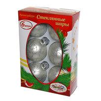 Новогодние шары ″Серебряный Ажур″ 7см (набор 6шт.) купить оптом и в розницу