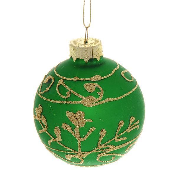 Новогодние шары ″Изумруд.Узоры″ 7см (набор 6шт.) купить оптом и в розницу