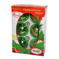 Новогодние шары ″Изумруд.Золотой цветок″ 7см (набор 6шт.) купить оптом и в розницу