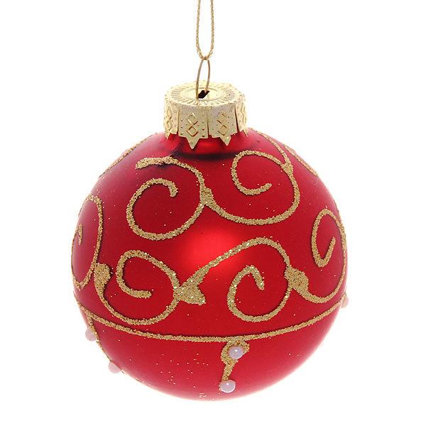 Новогодние шары ″Рубин.Жемчужные бусы″ 7см (набор 6шт.) купить оптом и в розницу
