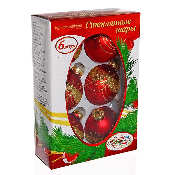 Новогодние шары ″Золотой занавес″ 7см (набор 6шт.) купить оптом и в розницу