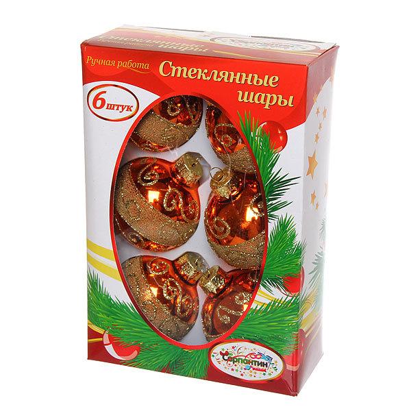Новогодние шары ″Золотое мерцание″ 7см (набор 6шт.) купить оптом и в розницу