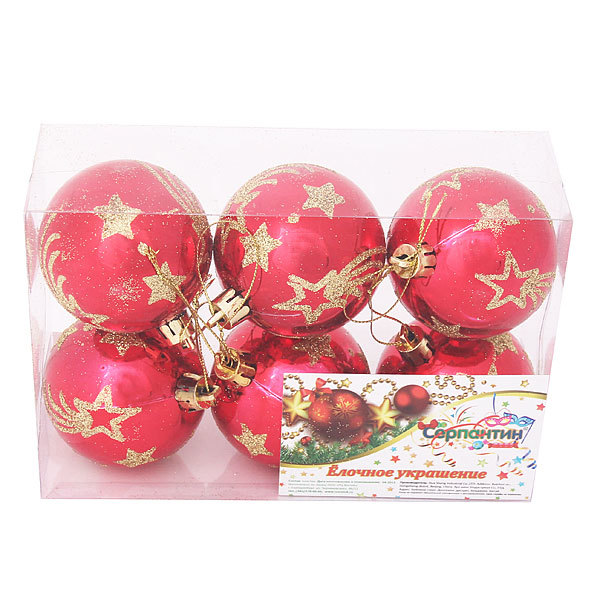 Новогодние шары ″Падающая звезда″ 6см (набор 6шт.) купить оптом и в розницу