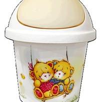 Детская мусорная корзина круглая   7 л Bears слоновая кость* 10 купить оптом и в розницу