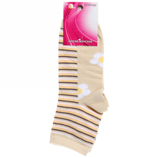 Носки женские Золотая игла цвет бежевый в полоску р. 23-25 (с-401-а) купить оптом и в розницу