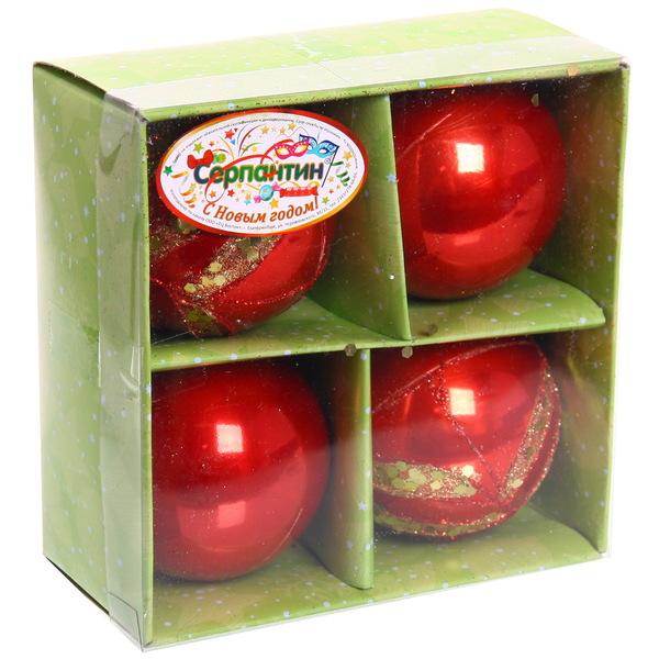 Новогодние шары ″Рубиновое ассорти″ 7см (набор 4шт.) купить оптом и в розницу
