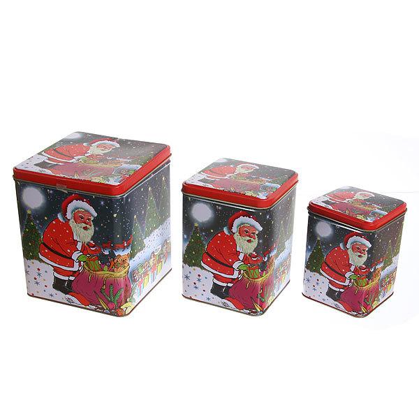 Набор банок жестяных 3шт ″Дед Мороз″ (500,900,2000мл) купить оптом и в розницу