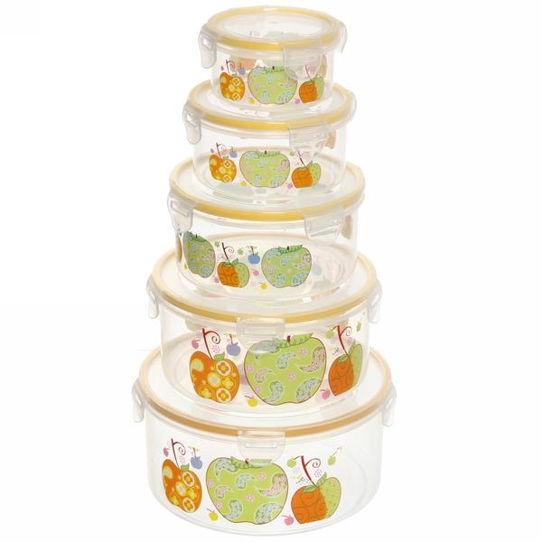 Набор контейнеров 5шт ″Фрукты″ (0,2л.0,4л,0,6л.1л,1,5л) круглый купить оптом и в розницу
