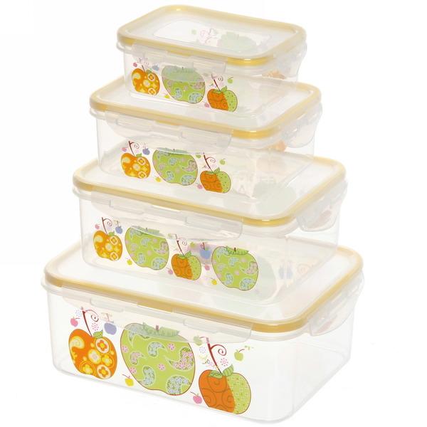 Набор контейнеров 4шт ″Фрукты″ (0,2л.0,4л.0,7л,1л) 8917 купить оптом и в розницу