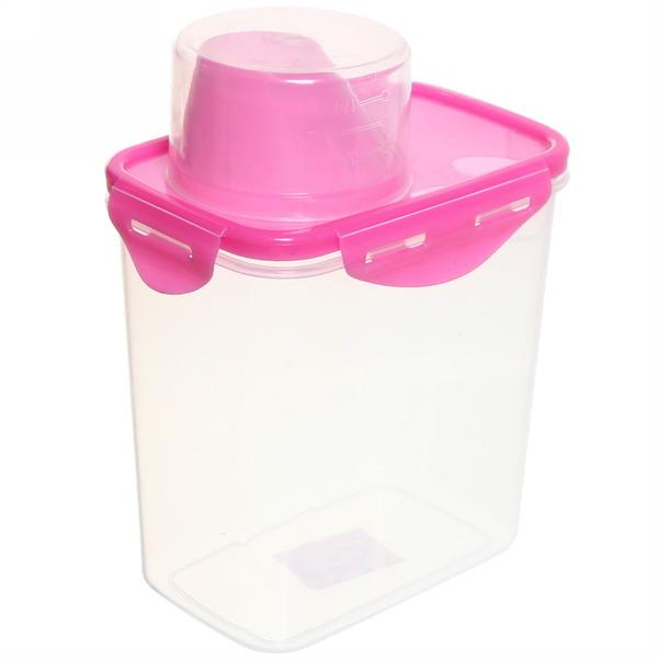 Банка для продуктов пластиковая с мерным стаканом 1л 1070-3 купить оптом и в розницу