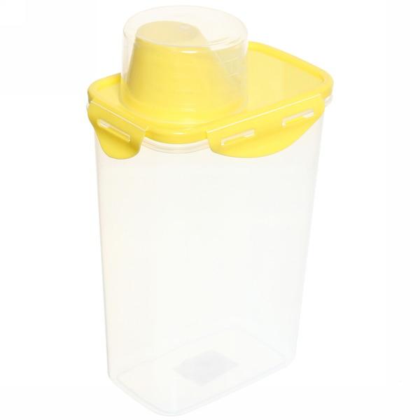 Банка для продуктов пластиковая с мерным стаканом 1,5л купить оптом и в розницу