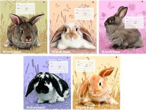 """Тетрадь 12л.лин.скрепка АЛЬТ, """"Милые крольчата"""" 5 видов купить оптом и в розницу"""