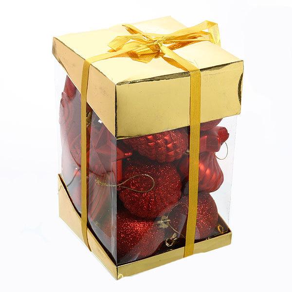 Новогодние шары (24шт) красный D06-279 купить оптом и в розницу