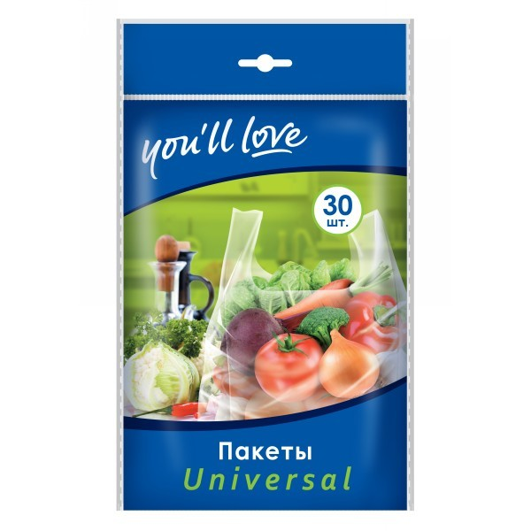 Пакеты Universal 21*46см 30 шт ″You`ll love″ купить оптом и в розницу