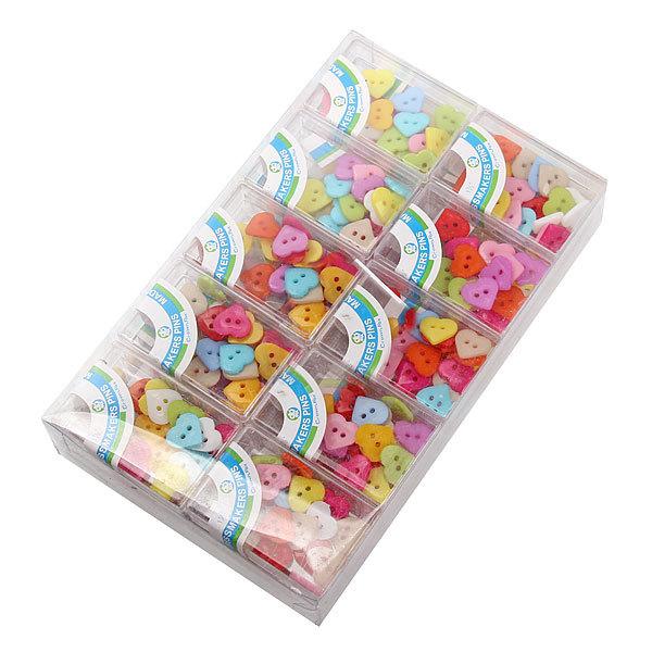 Пуговицы ″Сердечки″ 200 шт. (в 20 коробочках) купить оптом и в розницу