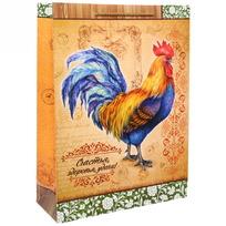 Пакет 32х43 см усиленный матовый ″Счастья, здоровья, удачи!″, Живописный петушок, вертикальный купить оптом и в розницу