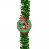 Мишура с открыткой ″С Новым годом!″, Жостовская роспись, 5 см х 1,5 м зеленая купить оптом и в розницу