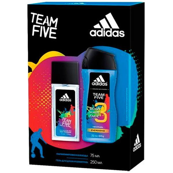 Подарочный набор Adidas мужской Team Five парфюмированая вода 75мл + Гель для душа и шампунь 250 мл купить оптом и в розницу