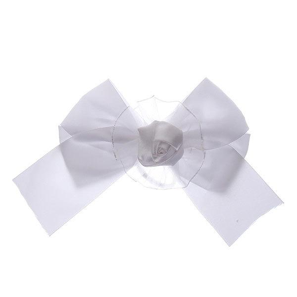 Бант для волос белый ″Розочка″ h-15 купить оптом и в розницу