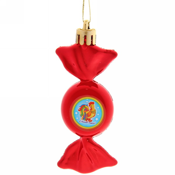 Ёлочная игрушка-конфетка ″С новым годом!″, Сказочный петушок (крас) купить оптом и в розницу