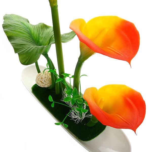 Цветы искусственные в тарелке ″Каллы″ 3шт в подарочной коробке MJL-002 купить оптом и в розницу