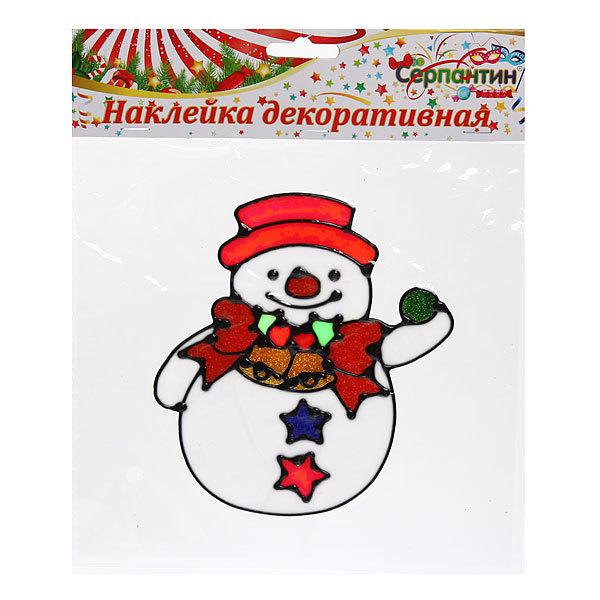 Наклейка на стекло 16см Снеговичок 2014В-139R купить оптом и в розницу