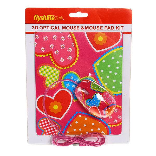 Мышка для компьютера USB с ковриком ″Романтика″В купить оптом и в розницу