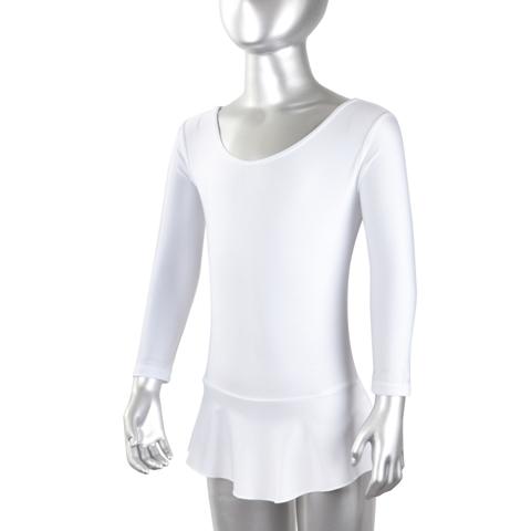 Купальник гимнастический лайкра с юбкой длин.рукав, белый р. 44 купить оптом и в розницу