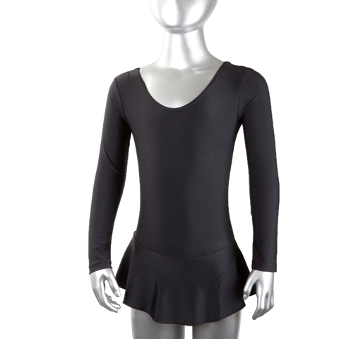 Купальник гимнастический лайкра с юбкой длин.рукав, черный р. 28 купить оптом и в розницу