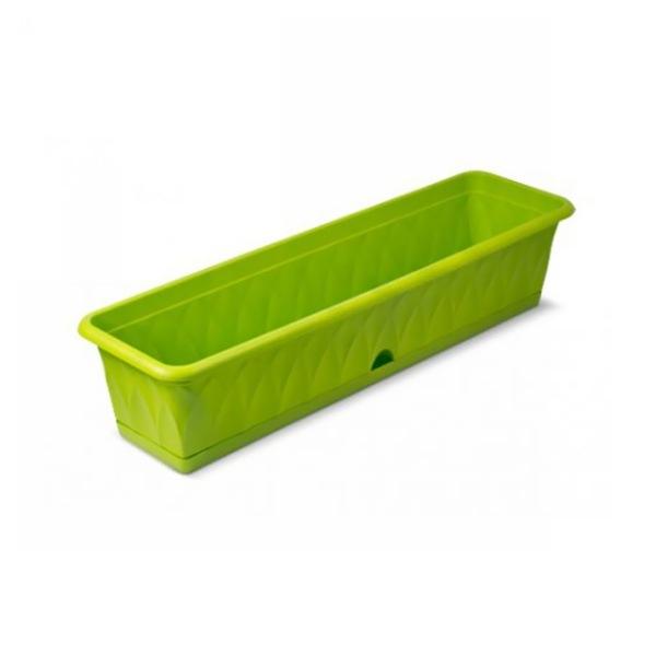 Ящик для растений ″Сиена″ 81см с поддоном зеленый С174-03-ЗЕЛ (Зеленый) купить оптом и в розницу