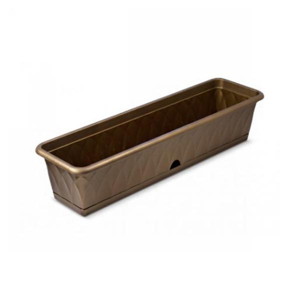 Ящик для растений ″Сиена″ 81см с поддоном золотой С174-03-ЗОЛ (Золотой) купить оптом и в розницу